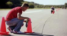 Rak slalom med 25 meters avstånd. Ett moment för att utvärdera körglädje.
