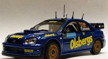 Subaru Impreza WRC från Svenska rallyt 2005, besättning Tobias Johansson och Ola Floene. Skala 1:43.