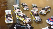 Ett gäng Audi Quattro, skala 1:43, i Gruppe B-utförande. Två långa och resten Sport Quattro. Fabrikat Ixo, Minichamps och Trofeu.